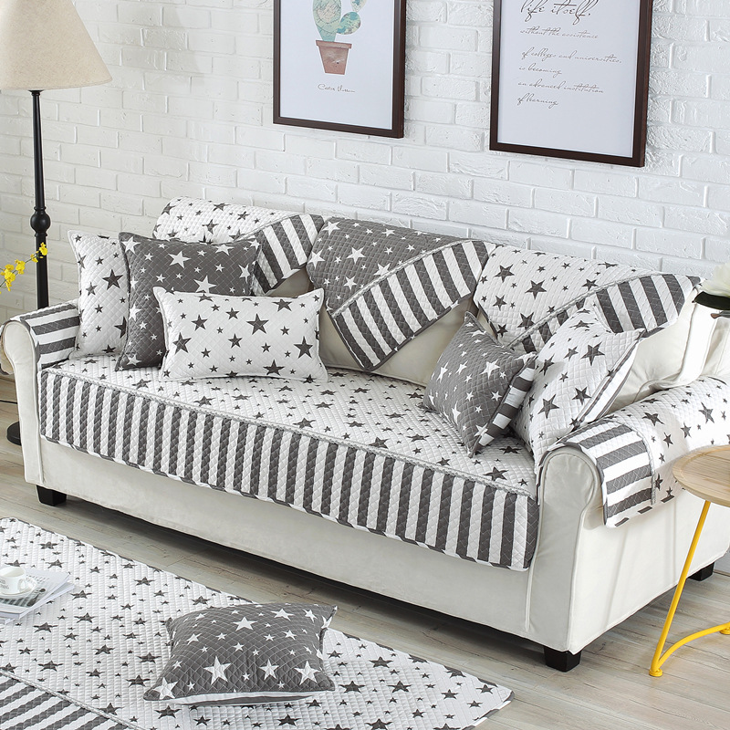 Us 10 76 49 Off Les Baoyi Modern Style Star Printed Sofa Cover Quilted Slipcovers Cotton Anti Slip Canape Furniture Cover Fundas De Sofa In Sofa
