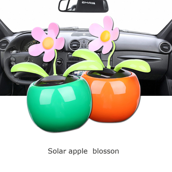1PC New Moving Dancing Swing Flip flap Solar Toy Power Sunflower Apple Car gadgets Gift Home Toys Decorating Plants 6