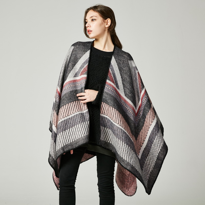 2018 brand women poncho knit striped thick scarves women capes cashmere warm oversized blanket echarpe femme