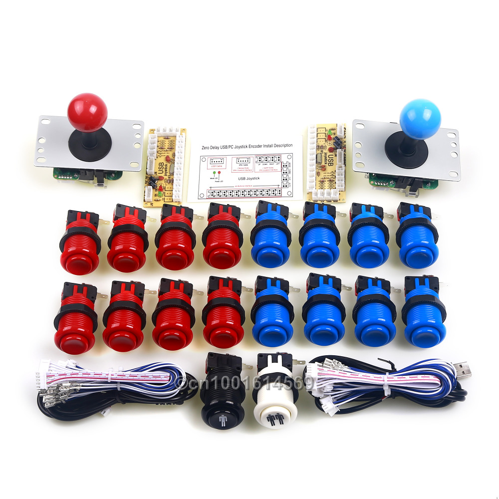 China Big Arcade Game Shop USB Happ Arcade Joystick + Arcade Button + USB Encoder To Operated Games Arcade & MAME Games DIY Kits sanwa button and joystick use in video game console with multi games 520 in 1
