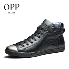 OPP High Top Men boots 2017 Genuine Leather Men Shoes Winter Boots men Full Grain Leather Shoes Ankle Boots for men