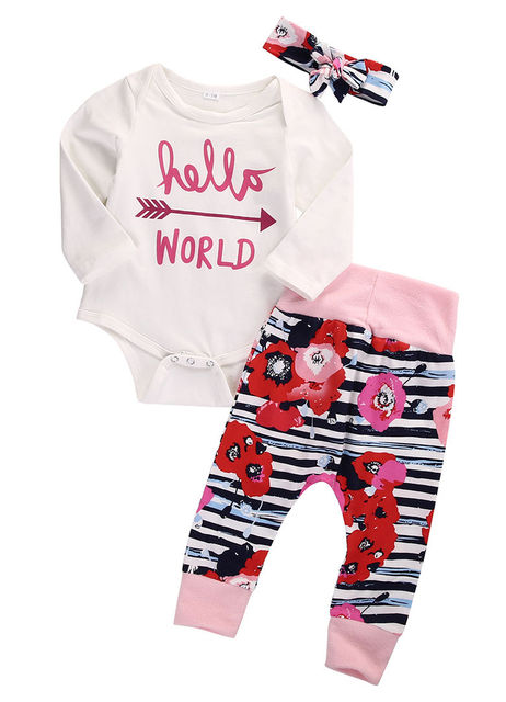 bc25ad68450 US $7.05 |3pcs Baby Girls Outfits Set Newborn Baby Girl Clothes Costume  Bodysuit Tops Cotton Hello World Flower Leggings Pants Headband -in  Clothing ...