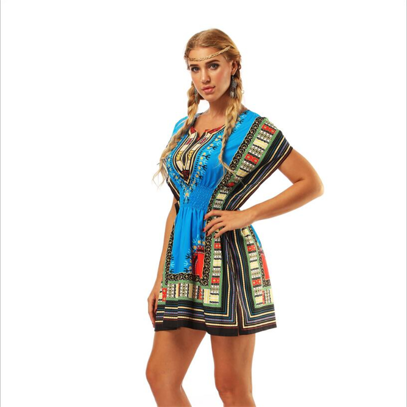 2018 Hot sale Sexy african style dress for women printing loose tight waist short mini dress female S-XL