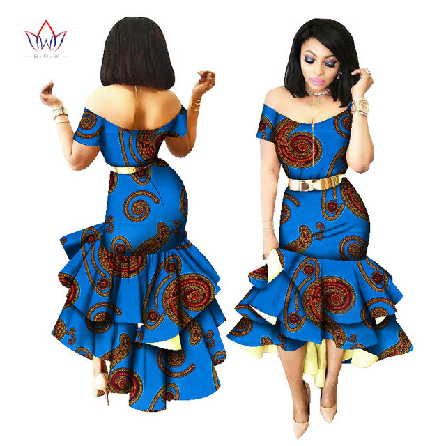 2019 New African Wax Print Dresses for Women Bazin Riche Cotton Party Dress Dashiki Sexy African Fashion Clothing WY2205 1