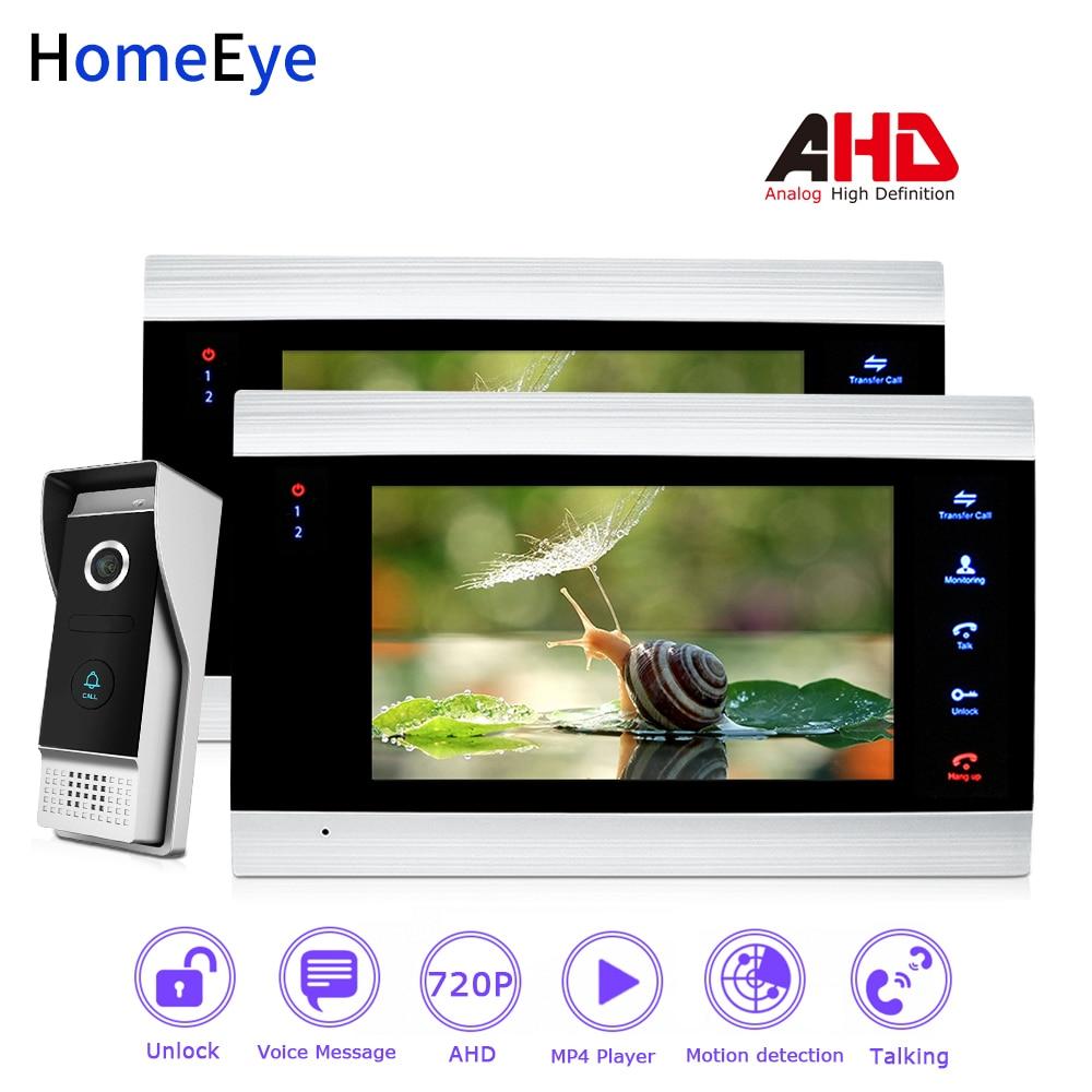 HomeEye 720P AHD Video Door Phone Video Intercom Home Access Control System Rainproof Motion Detection OSD Menu Touch Button 1-2