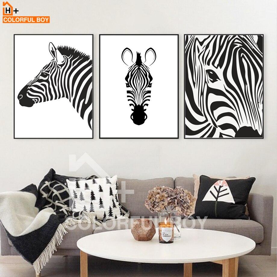 wohnzimmer wand poster : Colorfulboy Modernen Schwarz Wei Zebra Dekorative Bilder Leinwand