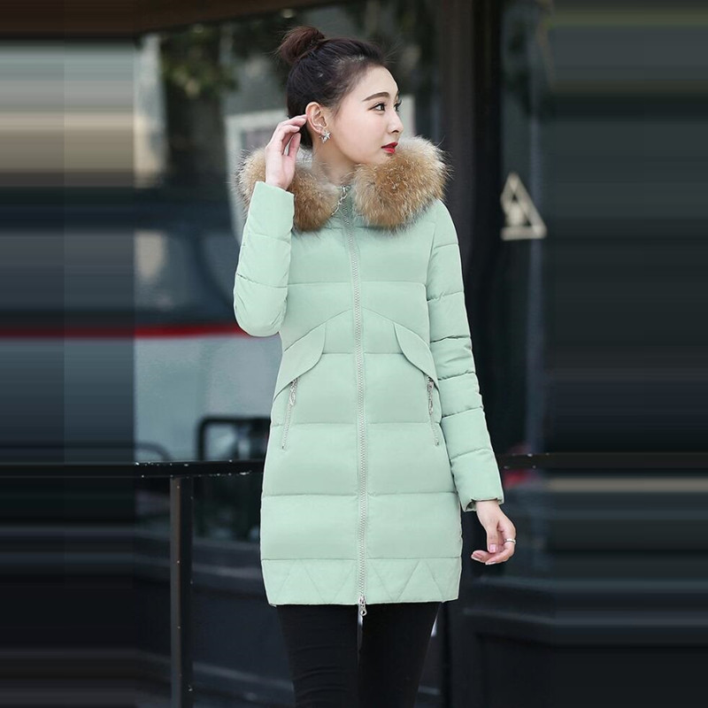 New 2017 Warm Long Winter Jacket Down Women Slim Artificial raccoon Fur collar Fashion Thick Women's coat Cotton Female Parka 2017 winter new clothes to overcome the coat of women in the long reed rabbit hair fur fur coat fox raccoon fur collar
