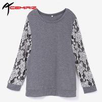 ACEMIRIZ manga Morcego T-Shirt de Manga Comprida de Renda O-pescoço Das Mulheres T-shirt Blusas Femininas Camisas Casual Assentamento Tee Primavera Outono