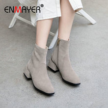 ENMAYER 2019 Boots Women Kid Suede Basic Round Toe Med Square Heel Winter Ankle Luxury Shoes Designers Size 34-39