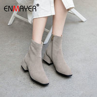 ENMAYER 2019 Boots Women Kid Suede Basic Round Toe Med Square Heel Winter Ankle Boots Luxury Shoes Women Designers Size 34 39