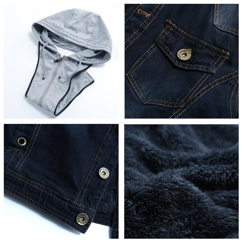 Winter Denim Bomber Jacket Men Hooded Sportswear Outwear Casual Fashion Jeans Jackets Hoodies Cowboy Mens Jacket and Coat 2018