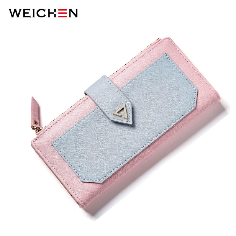 где купить WEICHEN 2017 New Design Geometric Long Clutch Wallets For Women Purse Cards Holder Phone Pocket Carteira Fashion Brand Wallet по лучшей цене