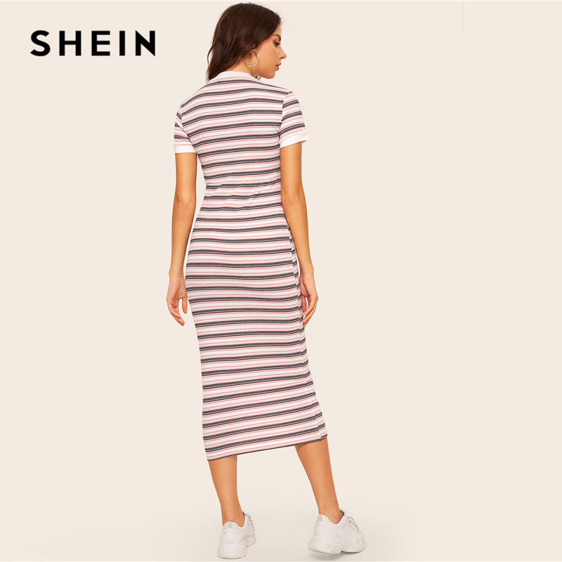 SHEIN Contrast Neck And Cuff Striped Pencil Dress Women's Dresses Women's Shein Collection