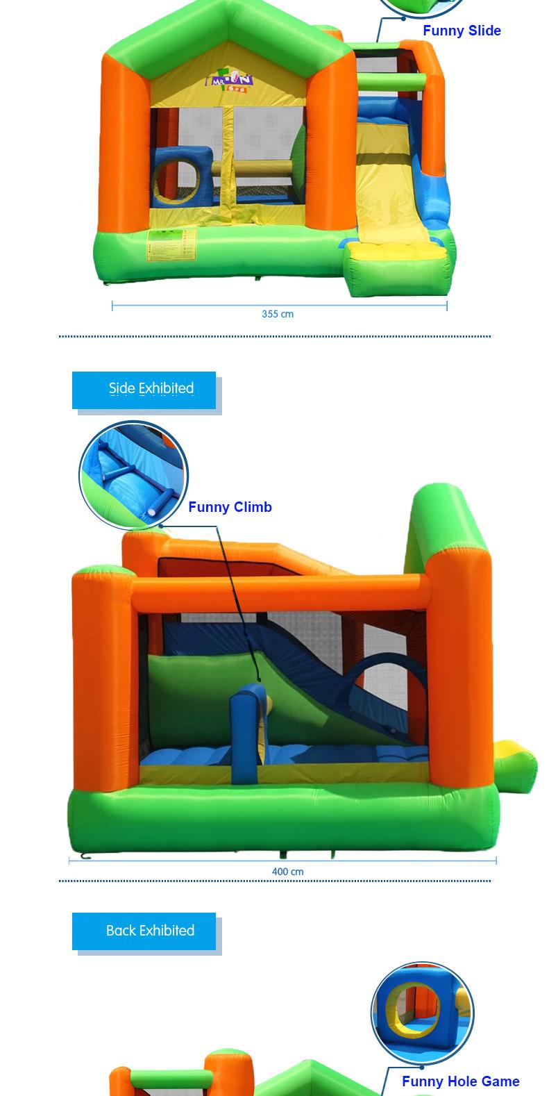HTB1Xa dPFXXXXXoaFXXq6xXFXXXs - Mr. Fun Inflatable Trampoline Bounce House with Slide with Blower