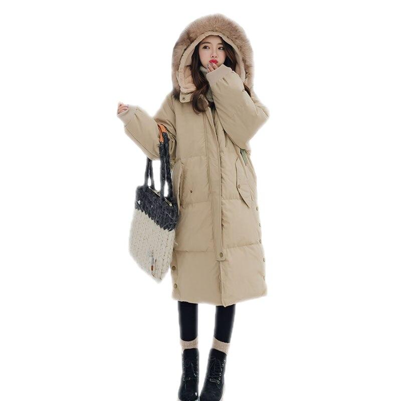 Manteaux Kaki Femme Mode Vestes 2018 Bas B43 Épaissir D'hiver Fourrure Femmes Faux Col Chaud De Le Casual Lâche jiao Nouvelle Se Longue Coton Rembourré Parkas Vers Tang 177qgp