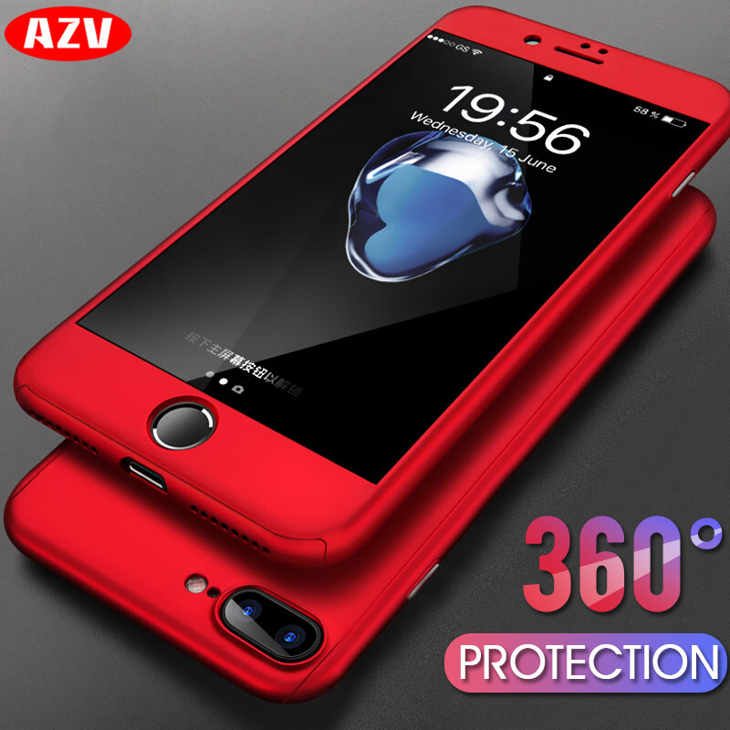 AZV Luxury 360 Protective Case For iPhone 8 7 6 Plus 6s Full Cover PC Phone Case For iphone 6 6s 7 8 X Case With Tempered Glass