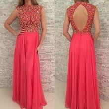 High Neck Flügelärmeln Sparkly Bördelte Coral Chiffon Backless Abendkleid Bodenlangen Lange Formale Abendkleid robe de soiree