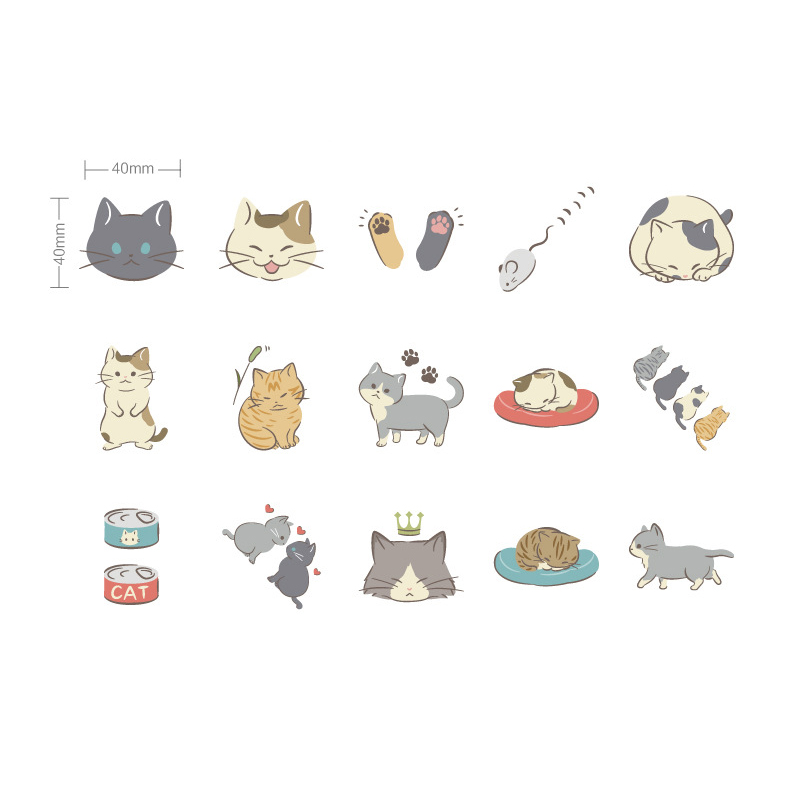 Купить с кэшбэком 45Pcs/box Kawaii Kitten diary Mini Paper Stickers Decoration DIY Scrapbook Notebook Album Sticker Stationery Girl Stickers