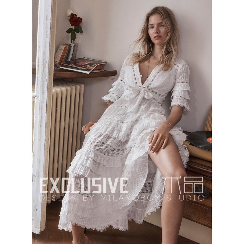 9151099cd6b Summer Vacation Style White Long Dress Women s Sexy V-Neck Cascading Ruffle  Embroidery High End Cotton Dress