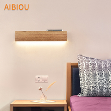 AIBIOU Modern Led Wall Lights For Living Room Nordic Style Wood Sconce Designer Wooden Mounted Reading Light