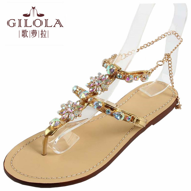 a31257810e3a7 women sandals rhinestone sexy gladiator ladies flat sandals crystal women  summer shoes woman slip on best quality  Y0614128Q