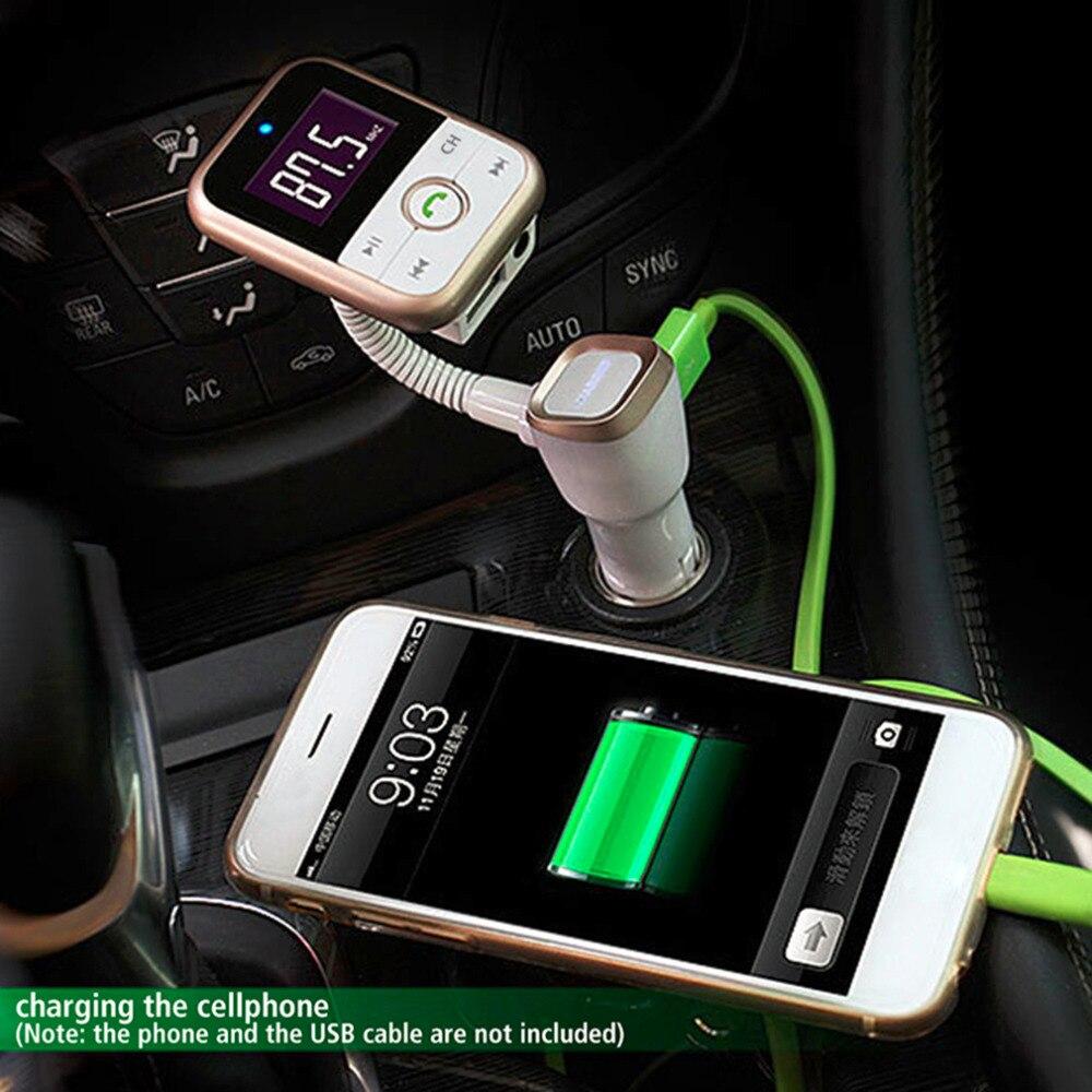 imágenes para Wireless Bluetooth Car Kit + FM Transmisor + MP3 Apoyo Al Jugador Tarjeta SD USB + 3.5mm jack de entrada de línea + USB car Charger + led pantalla