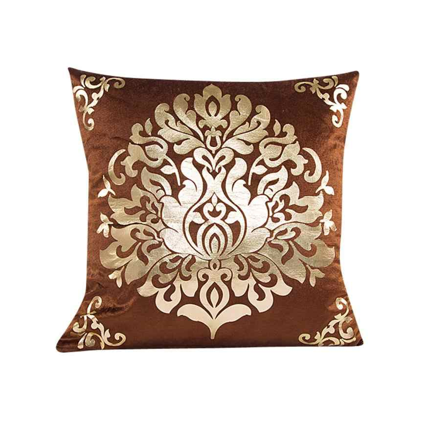 Cushion Covers Floral Gold Velvet Luxury Pillow Case for Sofa Bed Vintage Cushion Cover Home Decor Capas De Almofada #7420