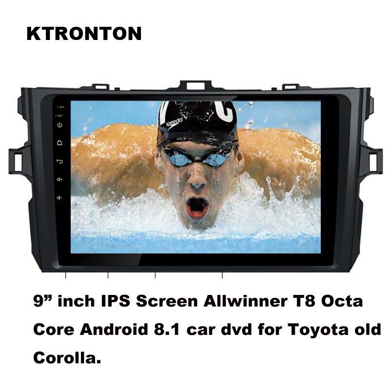 Mise à jour! T8 octa-core Android 8.1 Lecteur DVD de Voiture pour Toyota Vieux corolla 2007-2013 Avec GPS Radio BT wifi DVR OBD 2g RAM 32g ROM