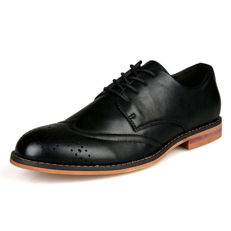 New Fashion New Cheap British Carving Brouge Shoes All Match Men Oxfords Shoes Top Quality Pu Leather Fashion Round Toe Leisure Male Falts