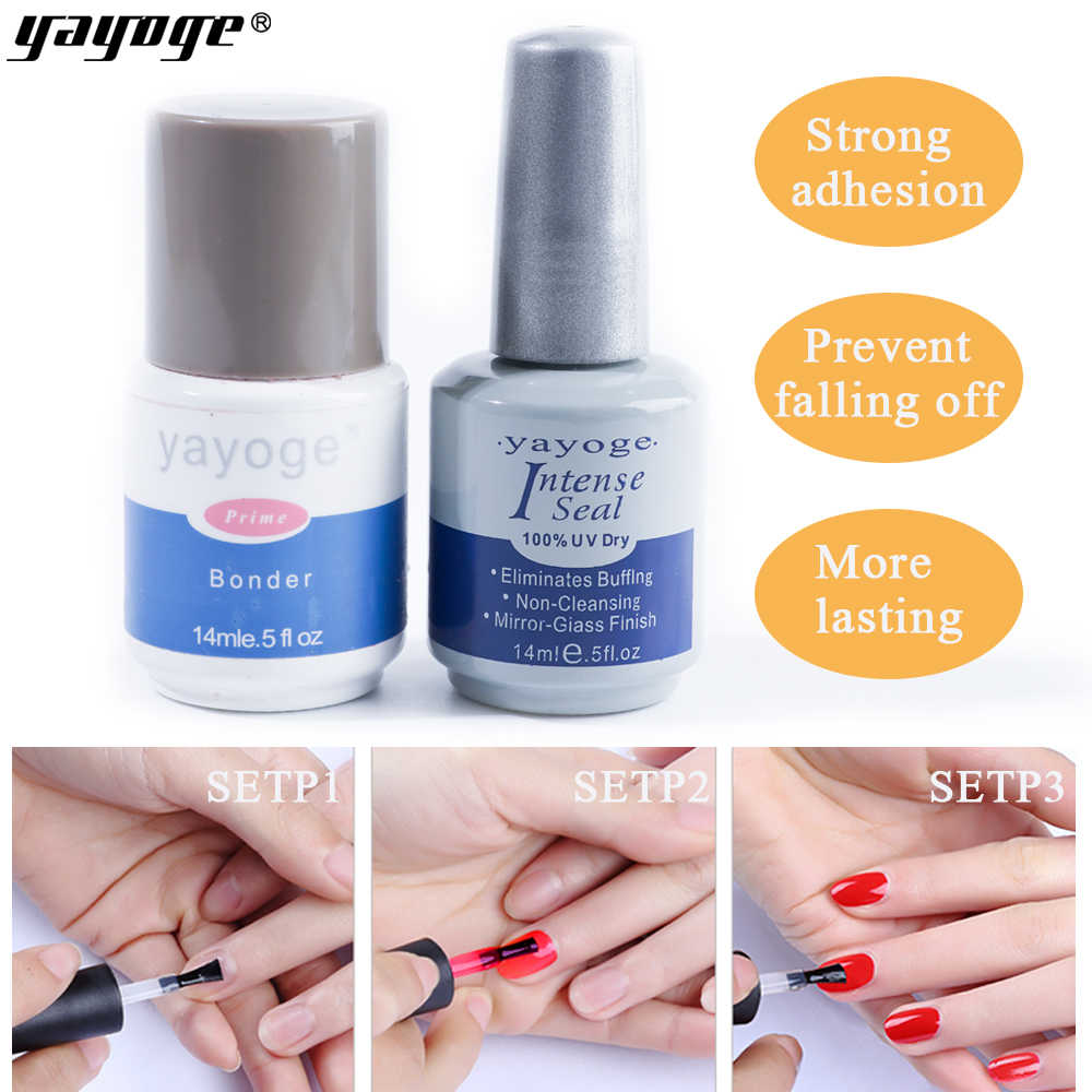 YAYOGE base de la capa superior set KIT de esmalte de Gel de uñas barniz UV LED primer Bonder sello intenso de secado rápido 14ML de larga duración.
