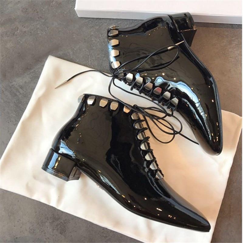 As Chaussures Bottes Bottines Chelsea Combat À Mujer Nouveau Talons Chunky 2019 Show Cheville Srtappy Femmes Cloutés Lacets Noir Zapatos FxTnqg