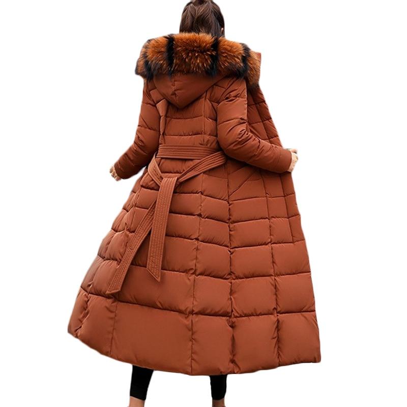 2019 New Women Hooded Fur collar Down Jacket Zippers Female Long Coat   Parkas   Padded Jacket Winter Thick Warm Windbreaker F745