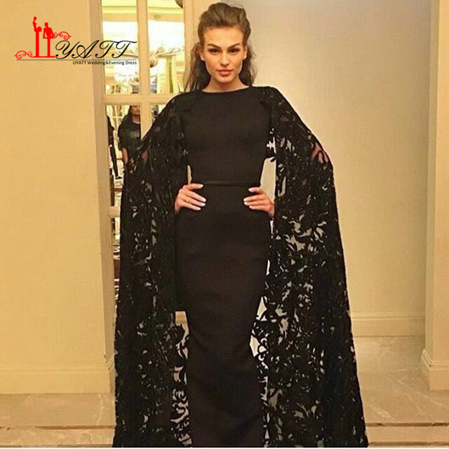 2017 Black Evening Dress Lace Mermaid Prom Dresses with Jacket Dubai Kaftan  Formal Dress Evening Party Dress Long Indian Saree e5949e234ffe