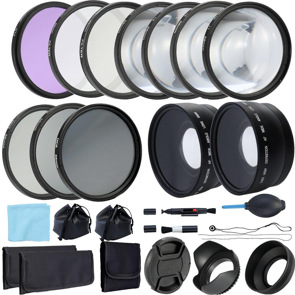 Objectif grand Angle et ensemble de filtres appareil photo Compact reflex/reflex numérique complet 52mm 58mm Kit d'accessoires photographie-in Caméra Filtres from Electronique    1
