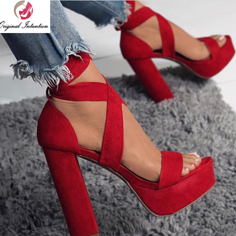 Original Intention STYLISH Pumps <font><b>Women</b></font> Platform High Heels Sandal <font><b>Shoes</b></font> <font><b>Sexy</b></font> Ladies Thick Heels Cross-tied Red <font><b>Shoes</b></font> <font><b>Woman</b></font> Party image