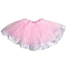 2017 Fashion Girl Skirt Casual Chiffon Tutu Pink And Grey Ribbon Skirt Baby Girl Birthday Party Ball Gown Pettiskrit