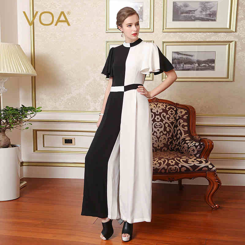 VOA Silk Women Bohemian Jumpsuits Black White Stitching Classic Match Loose Casual Stand Collar Long Ladies Pants K7756