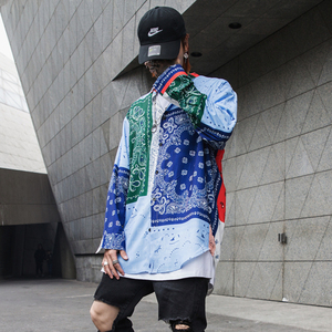 Image 4 - High street Patterned floral shirts men Long sleeve Extra long Red Blue White Loose 2019 Fashion