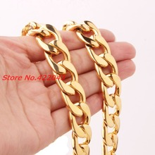 Top Design 7-40″ 15/19mm wide  Gold color 316L stainless steel cuban link chain Necklaces OR Bracelet women&men jewelry