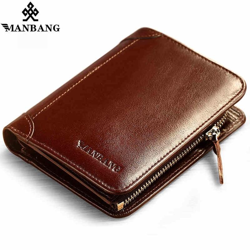 ManBang New Hot High Quality Genuine Leather Wallet Men Wallets Fashion Organizer Purse Billfold Zipper Coin Pocket Men's gift