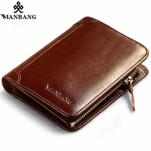 ManBang New Hot High Quality Genuine Leather Wallet Men Wallets Fashion Organizer Purse Billfold Zipper Coin Pocket Men's gift