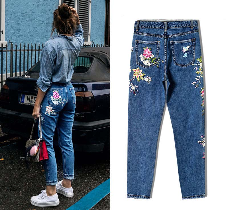 2017 Europe and the United States women's three-dimensional 3D heavy craft bird flowers before and after embroidery high waist Slim straight jeans large code system 46 yards (8)