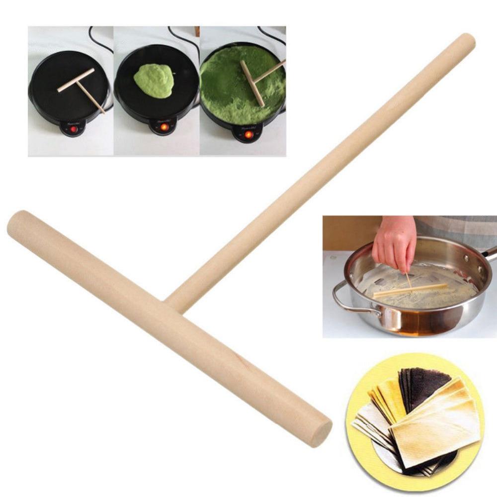 2Pcs/set T Shape Wooden Rake DIY Round Batter Pancake Crepe Spreader Rolling Pin Kitchen ...