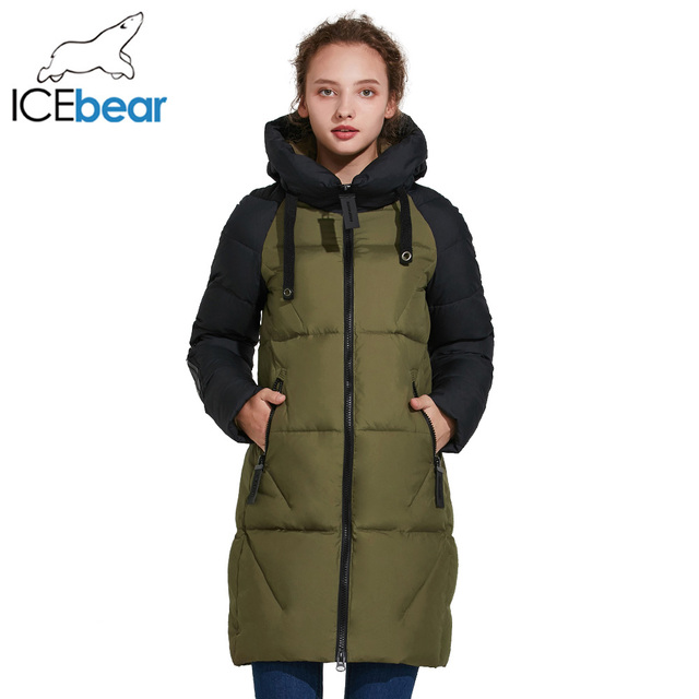 ICEbear 2017 Новинка высококачественное ветрозащитное тёплое модное зимнее пальто удлинённая облегающая парка 17G637D