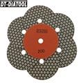 DT-DIATOOL 7 шт./компл. Грит #200 Сухие алмазные Гибкие Полировальные прокладки из смолы диаметром 5 дюймов 125 мм для сглаживания терраццо