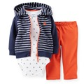 LSL3-040,Original,New Item, Baby Boys 3-Piece Hooded Cardigan Set, Spring And Autumn Wear, Free Shipping