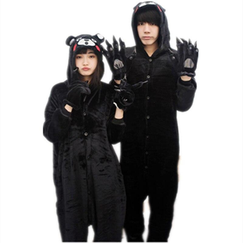 Cartoon Anime Japanese Black Animals Bear Onesie Halloween Cosplay Panda onesies Adult Women Men's Pajamas sleepwear jumpsuit