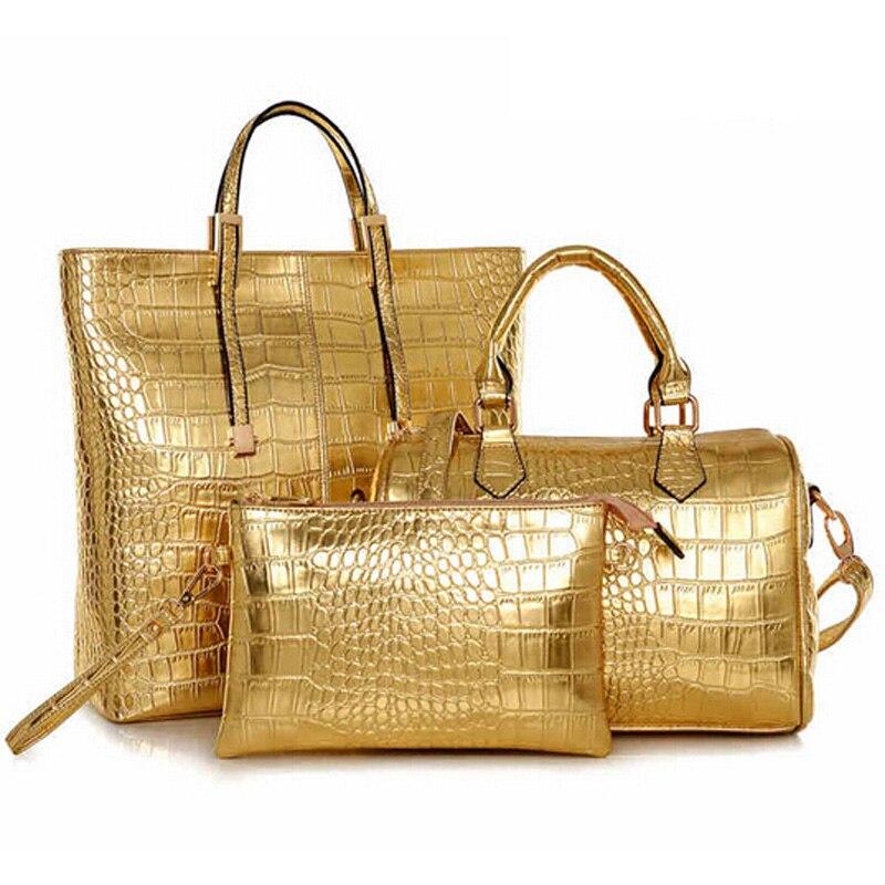 2017 Women Bag 3pcs Luxury Female Composite Vintage Designer Gold Handbag Brand Crossbody Large Las Tote In Top Handle Bags From