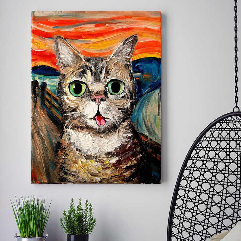Diy Pintura Para Colorir Por Numeros O Gato Do Grito Animais