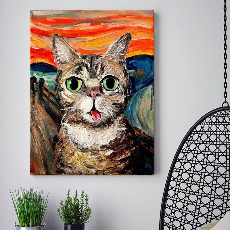 diy Coloring painting by numbersThe Scream cat abstract animals pictures paint by numbers with kits for adult artwork handmadediy Coloring painting by numbersThe Scream cat abstract animals pictures paint by numbers with kits for adult artwork handmade